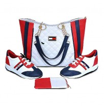 Ensemble Sac à main et chaussure - Bleu blanc rouge