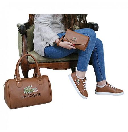 Ensemble Sac à main chaussure et portefeuille - marron
