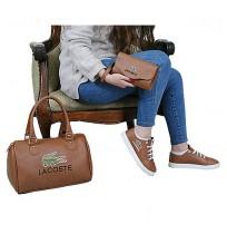 Ensemble Sac à main chaussure et portefeuille Lacoste - marron