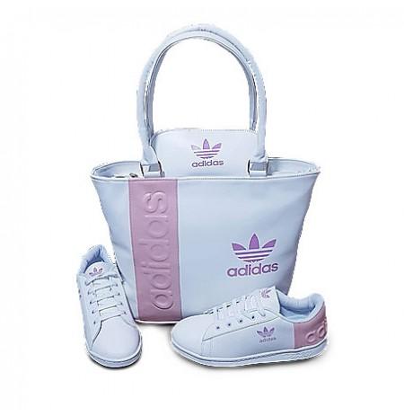 Ensemble Sac à main chaussure te portefeuille Adidas- blanc Rose